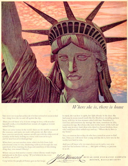 John Hancock Statue Liberty Life Insurance 1951 | Vintage Ad and Cover Art 1891-1970
