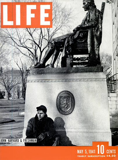 John Harvard and Freshman 5 May 1941 Copyright Life Magazine | Life Magazine BW Photo Covers 1936-1970