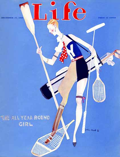 John Held Jr Life Magazine All Year Round Girl 1925-12-17 Copyright | Life Magazine Graphic Art Covers 1891-1936