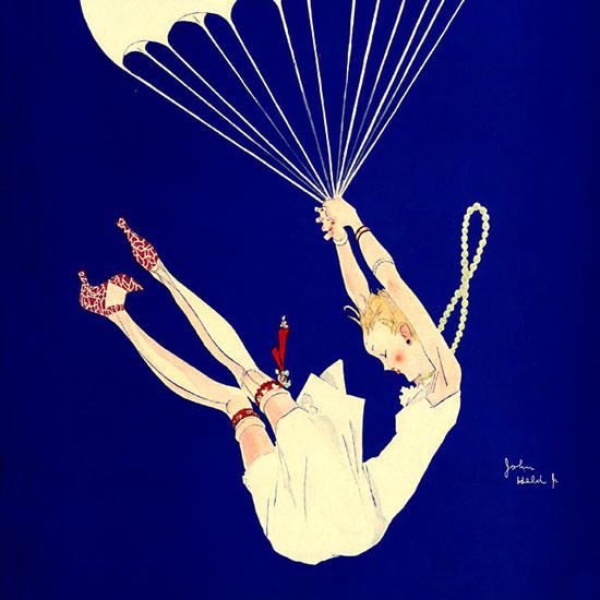 John Held Jr Life Magazine Ride in a Balloon 1926-01-14 Copyright crop | Best of Vintage Cover Art 1900-1970