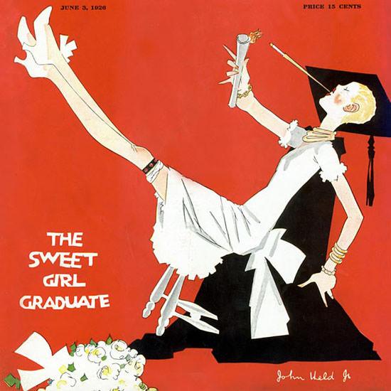 John Held Jr Life Magazine Sweet Graduate 1926-06-03 Copyright crop | Best of Vintage Cover Art 1900-1970