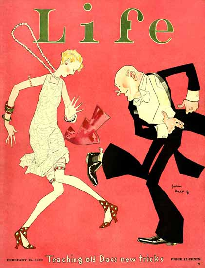 John Held Jr Life Magazine Teaching Old Dogs 1926-02-18 Copyright | Life Magazine Graphic Art Covers 1891-1936