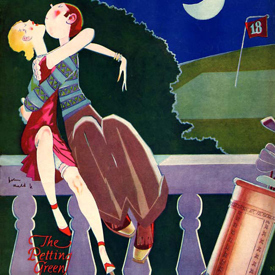 John Held Jr Life Magazine The Petting Green 1927-03-03 Copyright crop | Best of 1920s Ad and Cover Art