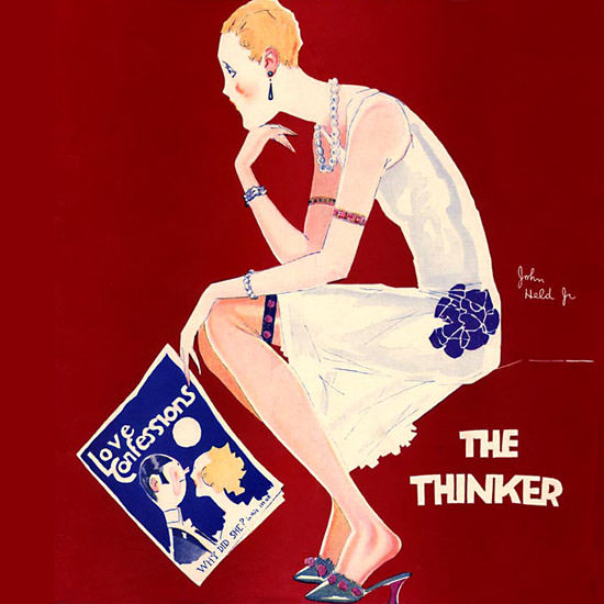John Held Jr Life Magazine The Thinker 1926-03-18 Copyright crop | Best of Vintage Cover Art 1900-1970