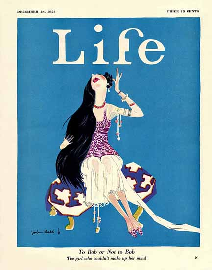 John Held Jr Life Magazine To Bob or Not to Bob 1924-12-18 Copyright | Life Magazine Graphic Art Covers 1891-1936