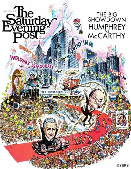 John Huehnergarth Saturday Evening Post Humphrey McCarthy 1968_08_24 | The Saturday Evening Post Graphic Art Covers 1931-1969