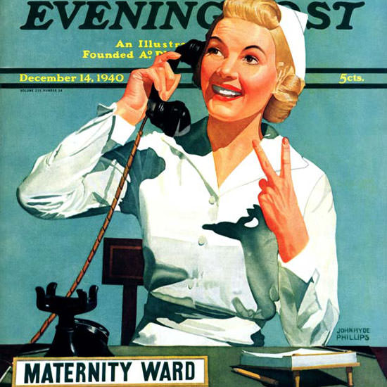 John Hyde Phillips Saturday Evening Post 1940_12_14 Copyright crop | Best of Vintage Cover Art 1900-1970