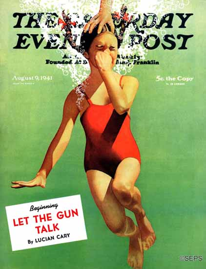John Hyde Phillips Saturday Evening Post Dunked Under Water 1941_08_09 | The Saturday Evening Post Graphic Art Covers 1931-1969