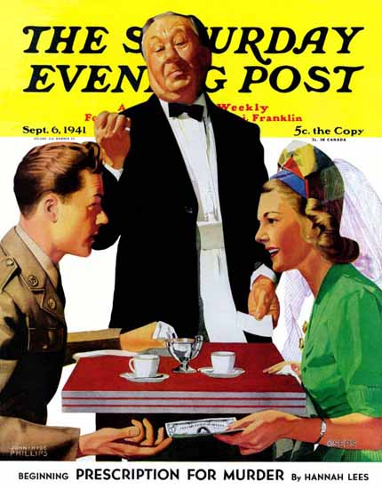 John Hyde Phillips Saturday Evening Post Dutch Treat 1941_09_06 | The Saturday Evening Post Graphic Art Covers 1931-1969