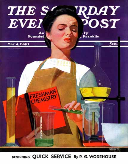 John Hyde Phillips Saturday Evening Post Freshmen Chemistry 1940_05_04 | The Saturday Evening Post Graphic Art Covers 1931-1969