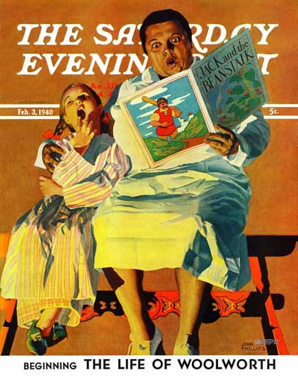John Hyde Phillips Saturday Evening Post Jack And Beanstalk 1940_02_03 | The Saturday Evening Post Graphic Art Covers 1931-1969