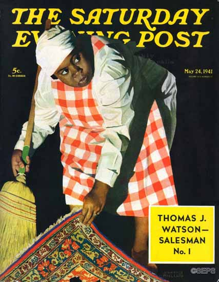 John Hyde Phillips Saturday Evening Post Sweep it Under Rug 1941_05_24   The Saturday Evening Post Graphic Art Covers 1931-1969