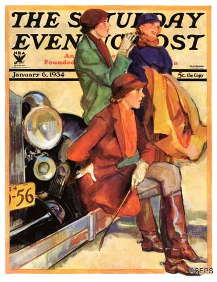 John La Gatta Cover Artist Saturday Evening Post 1934_01_06 | The Saturday Evening Post Graphic Art Covers 1931-1969