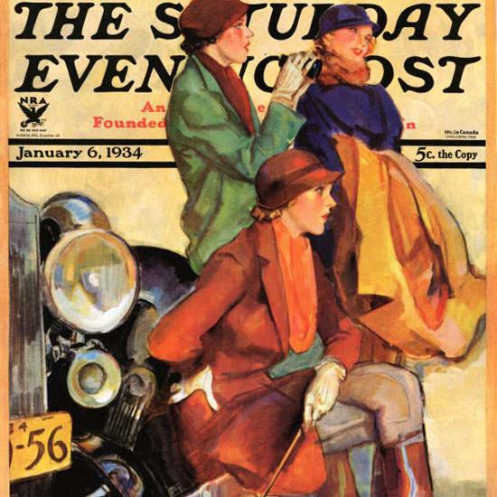 John La Gatta Saturday Evening Post 1934_01_06 Copyright crop | Best of Vintage Cover Art 1900-1970