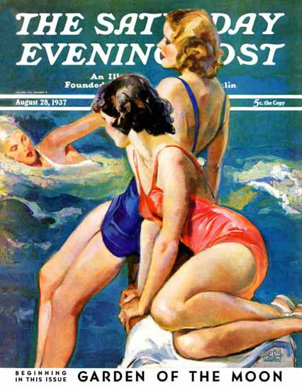 John La Gatta Saturday Evening Post At the Pool 1937_08_28 Sex Appeal | Sex Appeal Vintage Ads and Covers 1891-1970