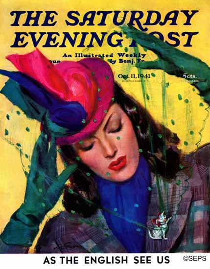 John La Gatta Saturday Evening Post Cat Pin 1941_10_11   The Saturday Evening Post Graphic Art Covers 1931-1969