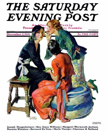 John La Gatta Saturday Evening Post Gossiping 1931_12_05 | The Saturday Evening Post Graphic Art Covers 1931-1969