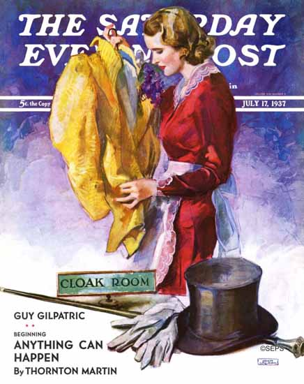 John La Gatta Saturday Evening Post Hatcheck Girl 1937_07_17 | The Saturday Evening Post Graphic Art Covers 1931-1969