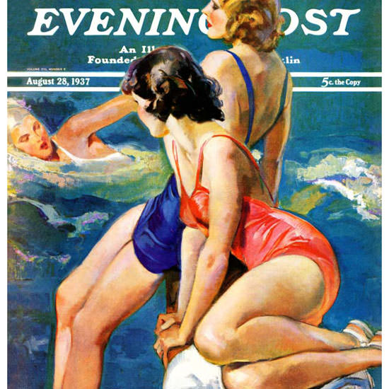 John La Gatta Saturday Evening Post Pool 1937_08_28 Copyright crop | Best of 1930s Ad and Cover Art