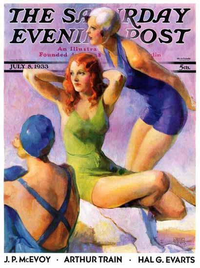 John La Gatta Saturday Evening Post Three Bathing Beauties 1933_07_08 | The Saturday Evening Post Graphic Art Covers 1931-1969