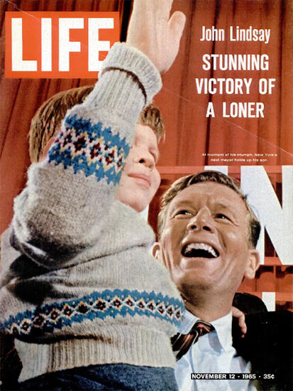 John Lindsay Mayor of New York 12 Nov 1965 Copyright Life Magazine | Life Magazine Color Photo Covers 1937-1970