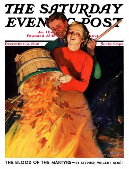 John Newton Howitt Saturday Evening Post Bonfire 1936_12_12 | The Saturday Evening Post Graphic Art Covers 1931-1969