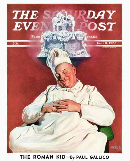 John Newton Howitt Saturday Evening Post Cake Dream 1938_06_11 | The Saturday Evening Post Graphic Art Covers 1931-1969