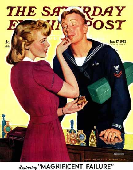 John Newton Howitt Saturday Evening Post Sniffing Perfume 1942_01_17 | The Saturday Evening Post Graphic Art Covers 1931-1969