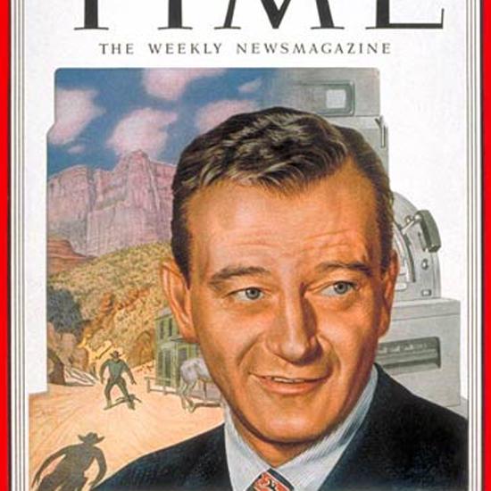 John Wayne Time Magazine 1952-03 by Boris Chaliapin crop | Best of Vintage Cover Art 1900-1970