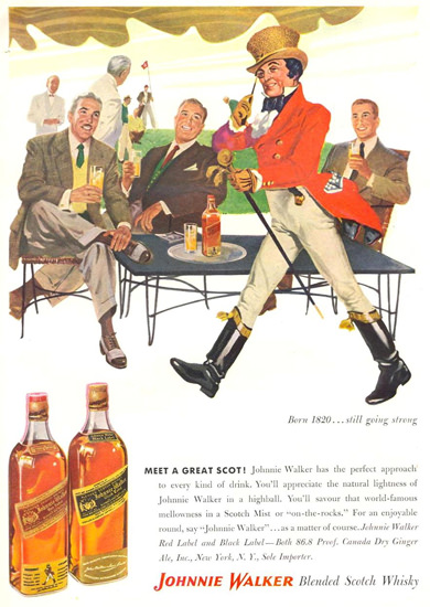 Johnnie Walker Born 1820 Still Going Strong 1953 | Vintage Ad and Cover Art 1891-1970