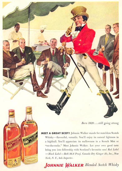 Johnnie Walker Meet A Great Scot 1956 | Vintage Ad and Cover Art 1891-1970