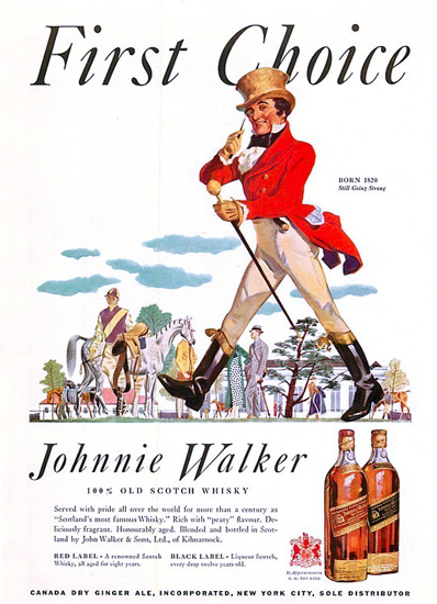 Johnnie Walker Scotch Whisky First Choice 1935 | Vintage Ad and Cover Art 1891-1970