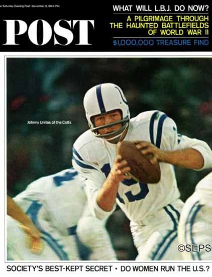 Johnny Unitas Saturday Evening Post 1964_12_12 | Vintage Ad and Cover Art 1891-1970