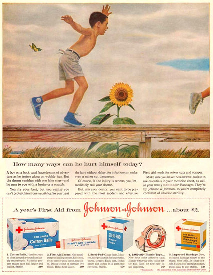 Johnson-Johnson Ways To Hurt Himself 1959 | Vintage Ad and Cover Art 1891-1970