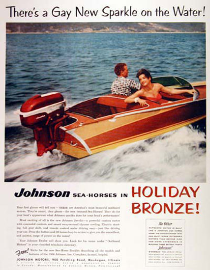 Johnson Outboard 1956 Sea-Horses In Holiday | Vintage Ad and Cover Art 1891-1970