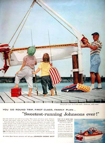 Johnson Outboard 1957 First Calss Family Plan | Vintage Ad and Cover Art 1891-1970