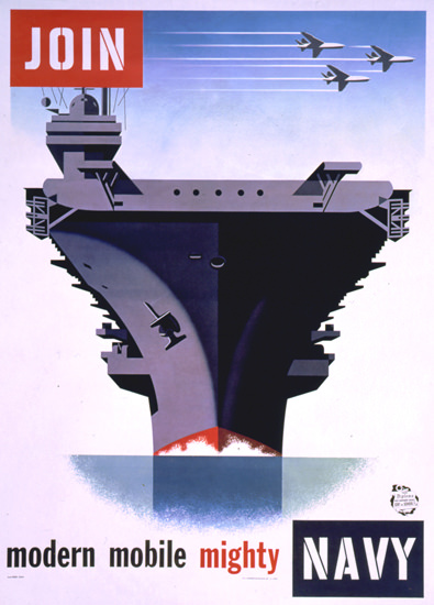 Join Modern Mobile Mighty Navy 1957   Vintage War Propaganda Posters 1891-1970