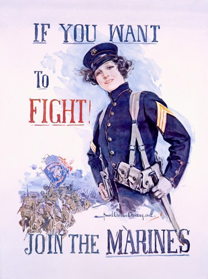 Join The Marines If You Want to Fight H C Christy | Vintage War Propaganda Posters 1891-1970
