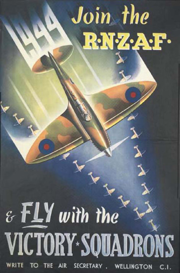 Join The RNZAF Fly With The Victory Squadrons | Vintage War Propaganda Posters 1891-1970