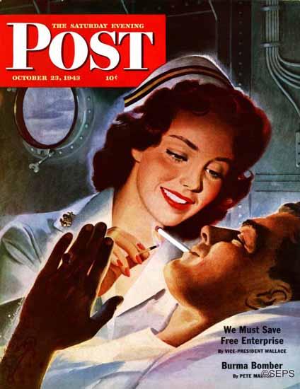 Jon Whitcomb Saturday Evening Post Lighting His Cigarette 1943_10_23 | The Saturday Evening Post Graphic Art Covers 1931-1969