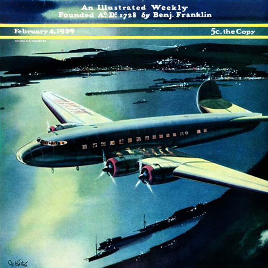 Josef Kotula Saturday Evening Post Flight 1939_02_04 Copyright crop | Best of Vintage Cover Art 1900-1970
