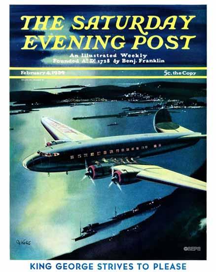 Josef Kotula Saturday Evening Post Night Flight 1939_02_04 | The Saturday Evening Post Graphic Art Covers 1931-1969