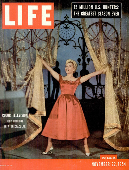 Judy Holliday on Color TV 22 Nov 1954 Copyright Life Magazine | Life Magazine Color Photo Covers 1937-1970