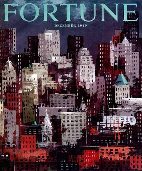 Julio de Diego Fortune Cover December Portentous City 1949 Copyright | Fortune Magazine Graphic Art Covers 1930-1959