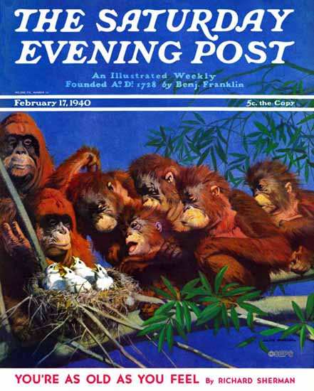 Julius Moessel Saturday Evening Post Orangutans 1940_02_17 | The Saturday Evening Post Graphic Art Covers 1931-1969