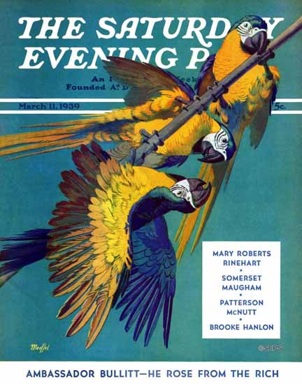 Julius Moessel Saturday Evening Post Three Parrots 1939_03_11 | The Saturday Evening Post Graphic Art Covers 1931-1969