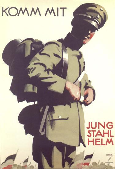 Jung Stahlhelm Komm Mit Young Steel Helmets   Vintage War Propaganda Posters 1891-1970