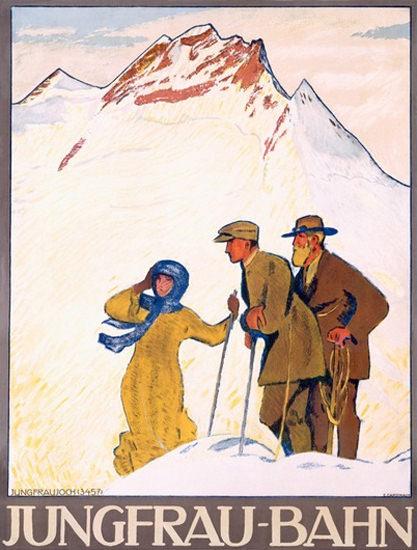 Jungfrau-Bahn Jungfraujoch Schweiz Switzerland | Vintage Travel Posters 1891-1970