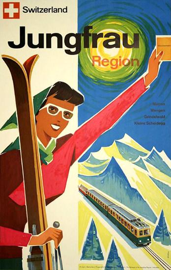 Jungfrau Region Grindelwald Muerren 1950 | Vintage Travel Posters 1891-1970