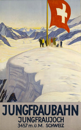 Jungfraubahn Jungfraujoch Switzerland 1928 | Vintage Travel Posters 1891-1970
